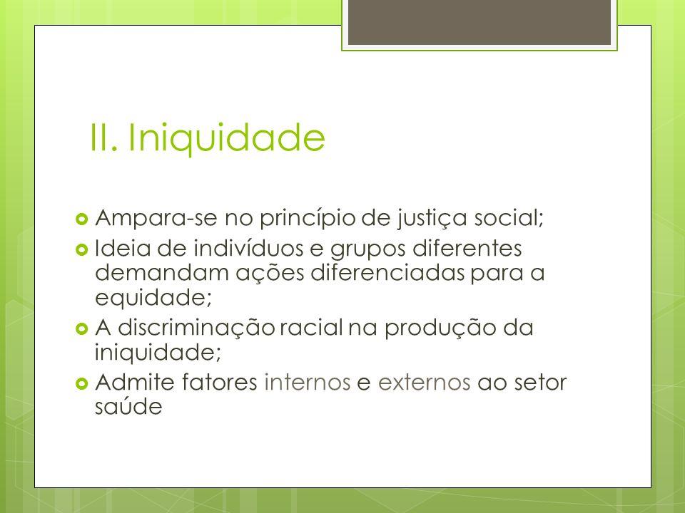 II. Iniquidade Ampara-se no princípio de justiça social;