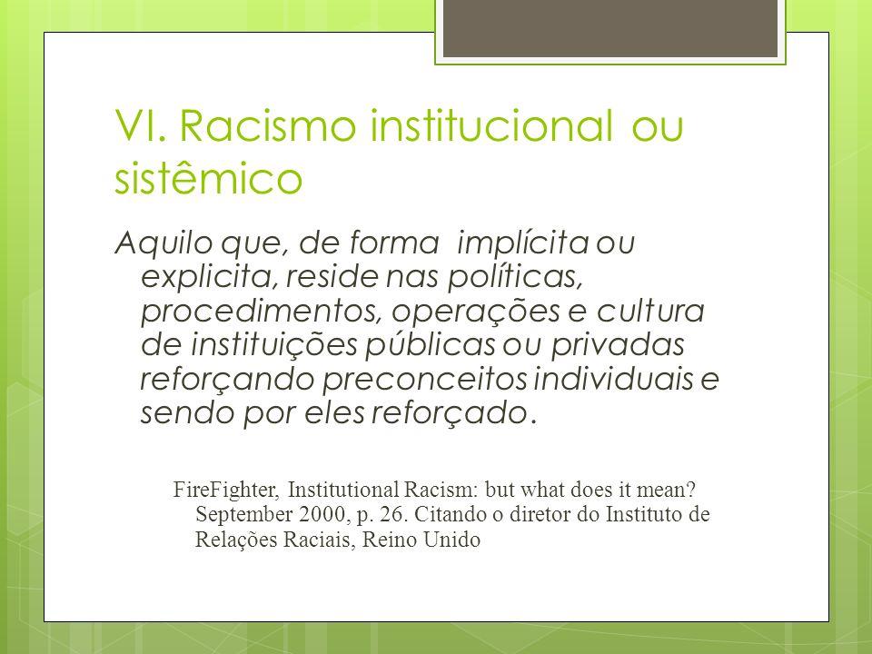 VI. Racismo institucional ou sistêmico