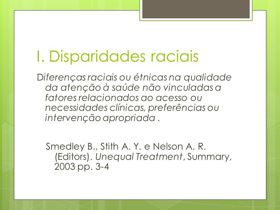 I. Disparidades raciais