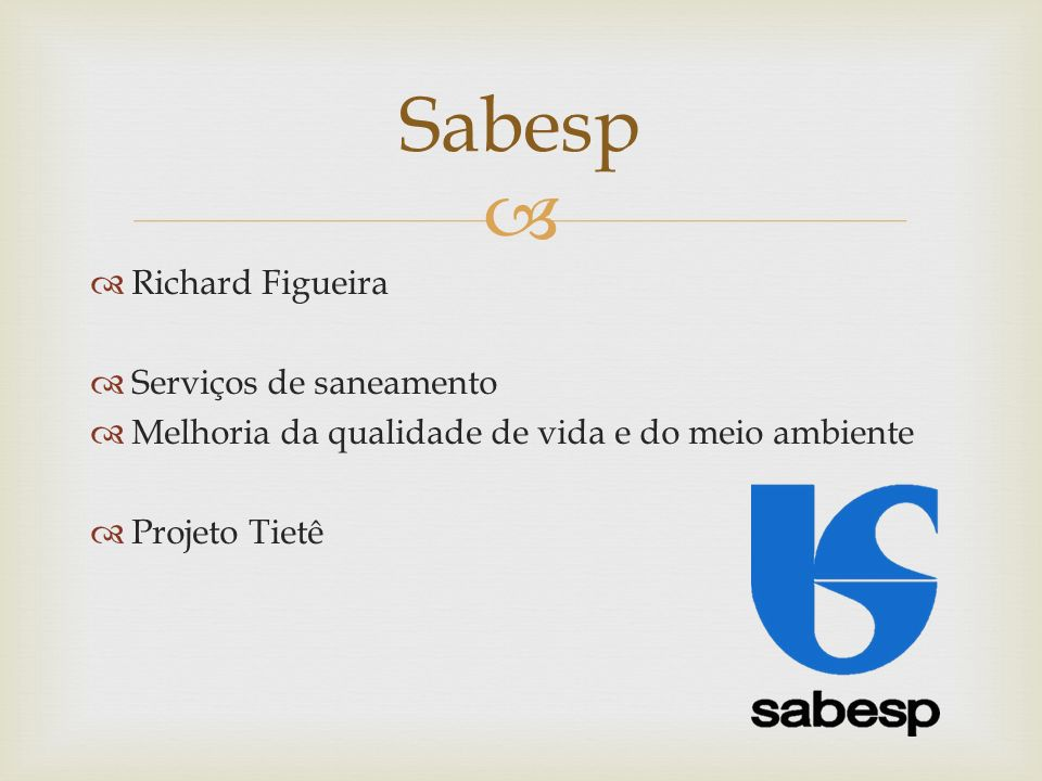 Sabesp Richard Figueira Serviços de saneamento