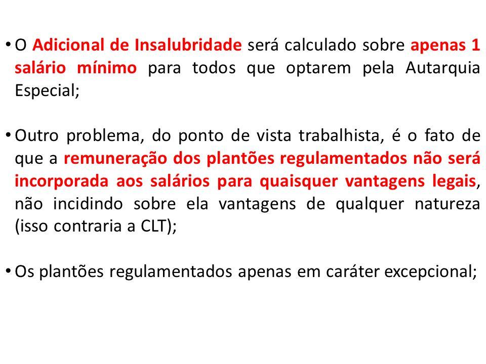 O Adicional de Insalubridade será calculado sobre apenas 1 salário mínimo para todos que optarem pela Autarquia Especial;