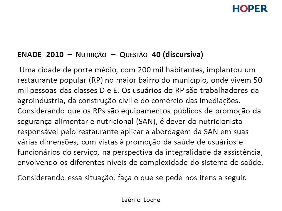 ENADE 2010 – Nutrição – Questão 40 (discursiva) Uma cidade de porte médio, com 200 mil habitantes, implantou um restaurante popular (RP) no maior bairro do município, onde vivem 50 mil pessoas das classes D e E.
