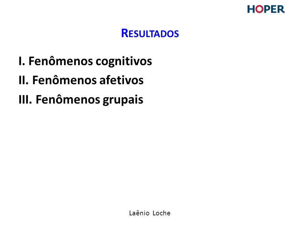 Resultados I. Fenômenos cognitivos II. Fenômenos afetivos III. Fenômenos grupais