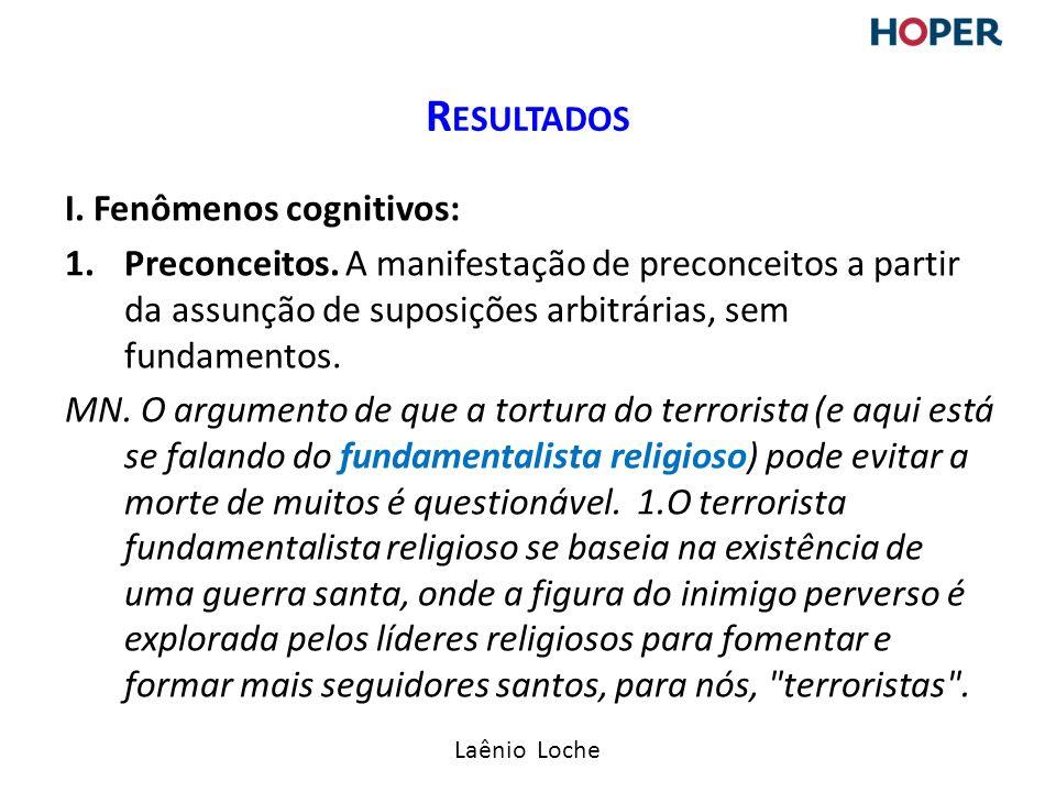 Resultados I. Fenômenos cognitivos: