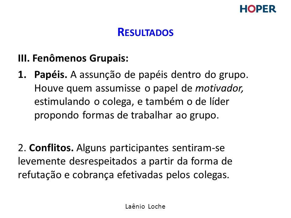 Resultados III. Fenômenos Grupais: