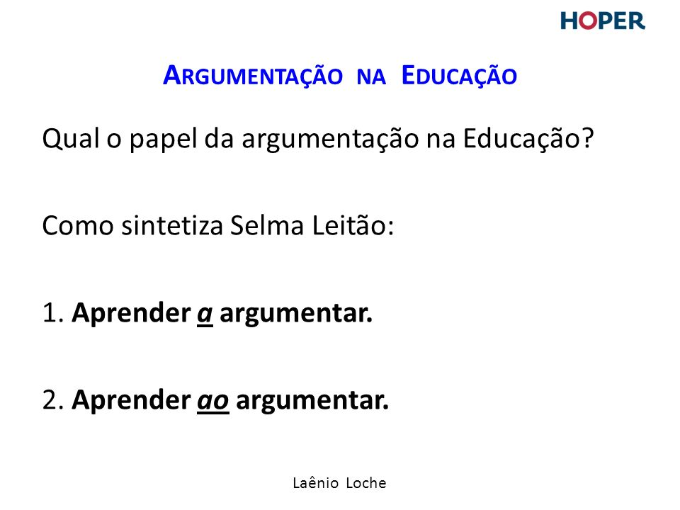 Argumentação na Educação