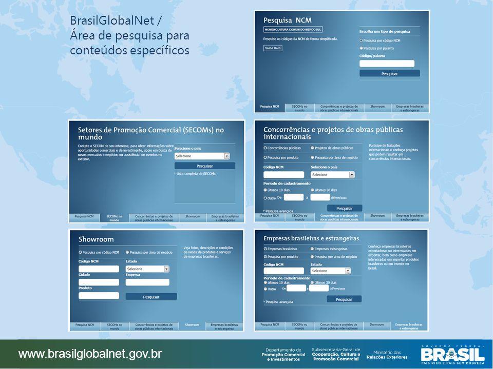 BrasilGlobalNet / Área de pesquisa para conteúdos específicos www.brasilglobalnet.gov.br