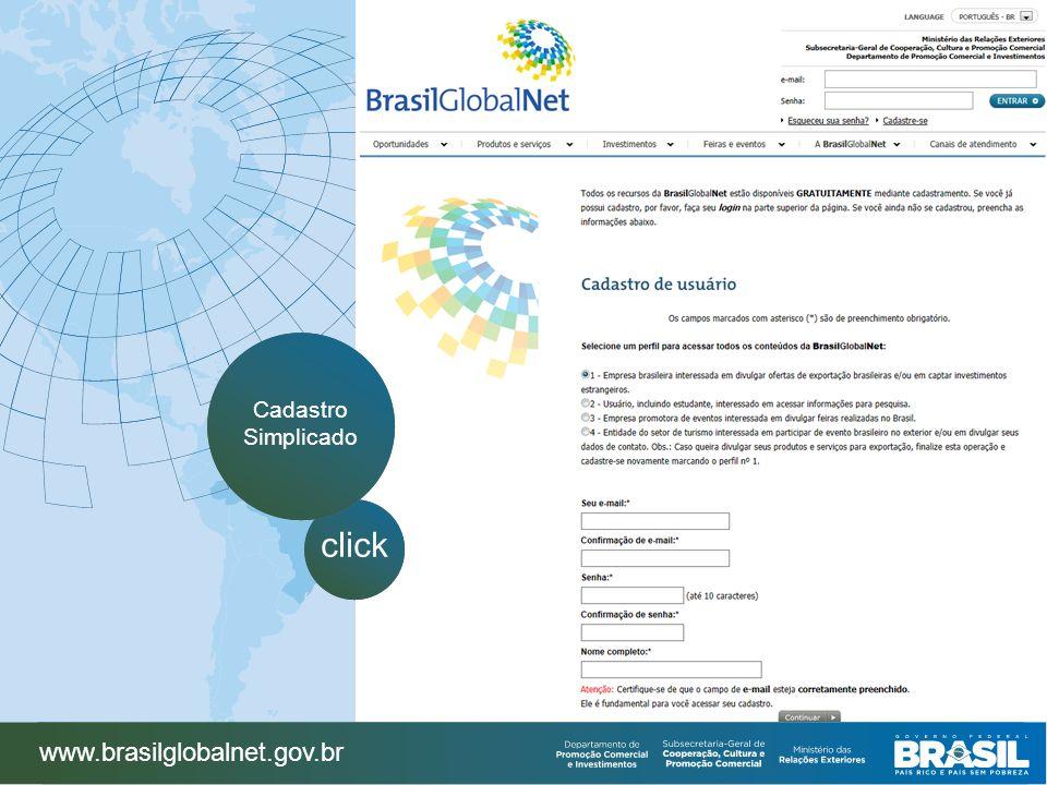 Cadastro Simplicado click www.brasilglobalnet.gov.br