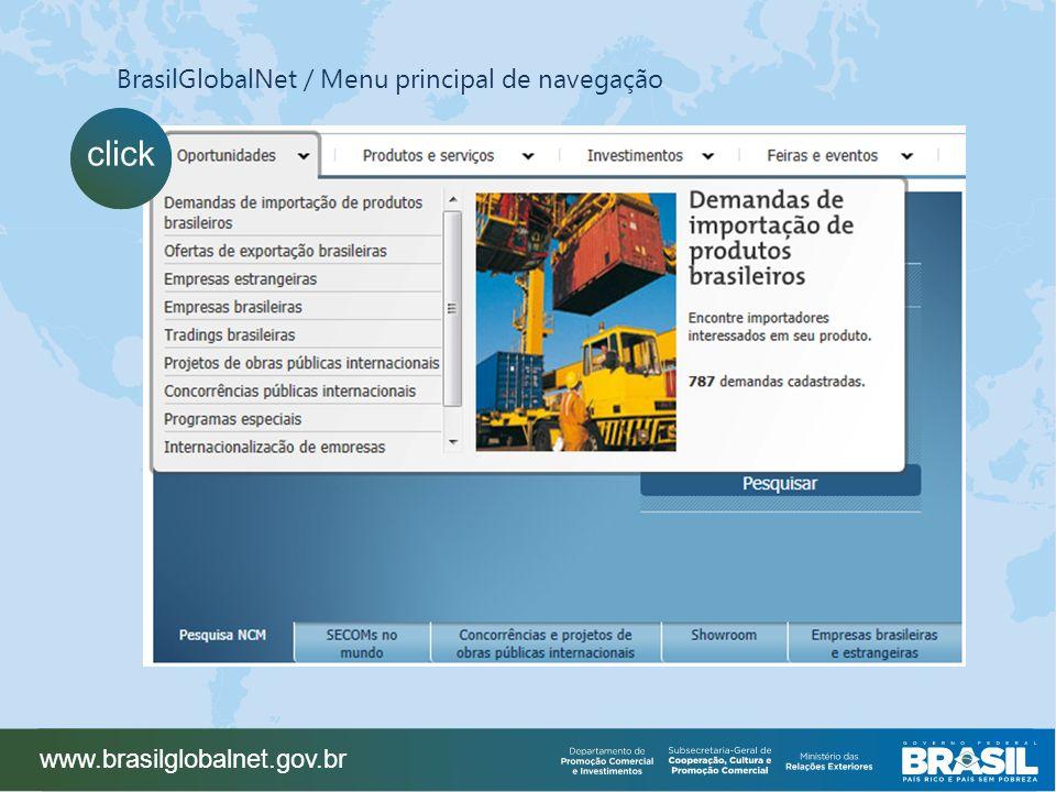 click BrasilGlobalNet / Menu principal de navegação