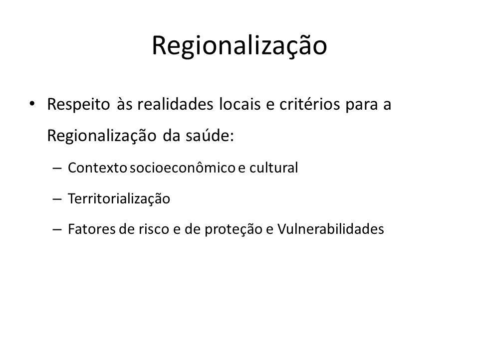 Regionalização Respeito às realidades locais e critérios para a Regionalização da saúde: Contexto socioeconômico e cultural.
