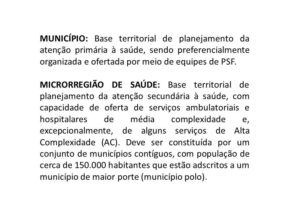 MUNICÍPIO: Base territorial de planejamento da atenção primária à saúde, sendo preferencialmente organizada e ofertada por meio de equipes de PSF.
