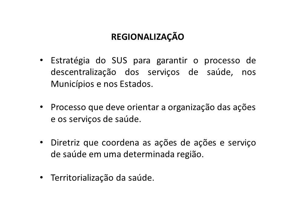 REGIONALIZAÇÃO Estratégia do SUS para garantir o processo de descentralização dos serviços de saúde, nos Municípios e nos Estados.