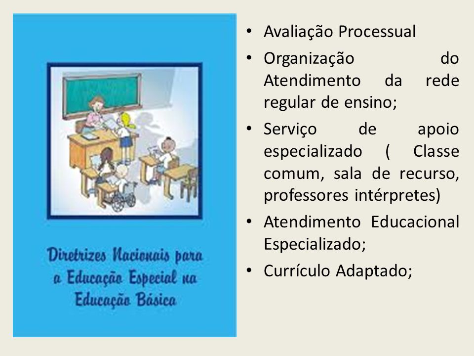Avaliação Processual Organização do Atendimento da rede regular de ensino;