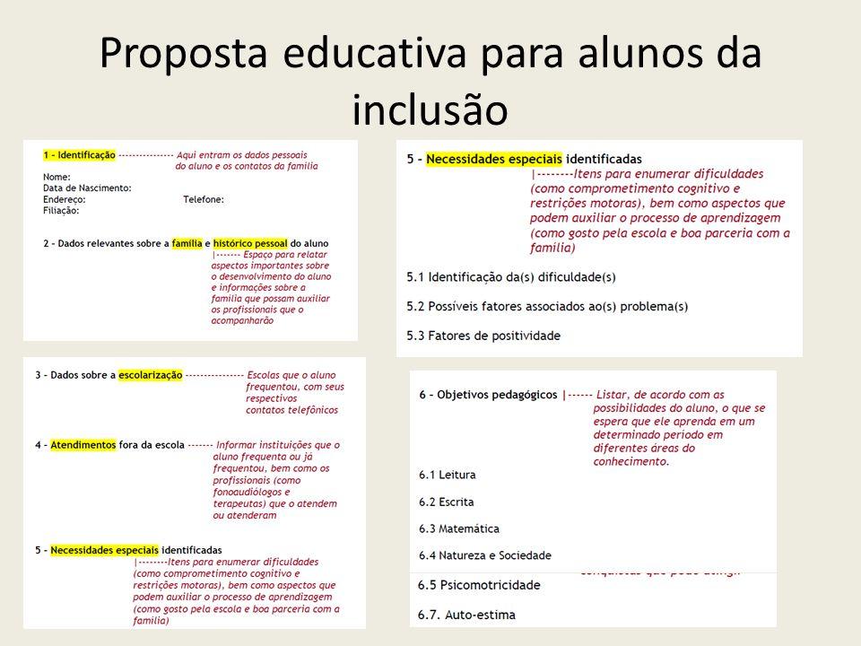 Proposta educativa para alunos da inclusão
