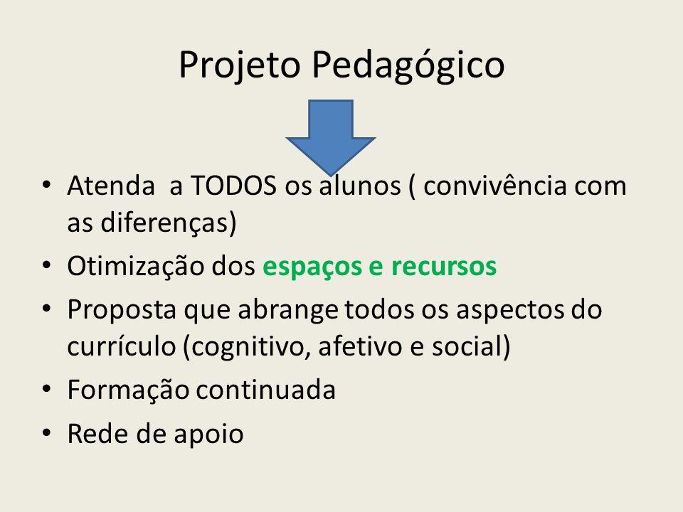 Projeto Pedagógico Atenda a TODOS os alunos ( convivência com as diferenças) Otimização dos espaços e recursos.