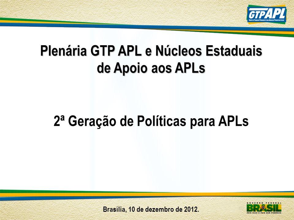 Plenária GTP APL e Núcleos Estaduais de Apoio aos APLs 2ª Geração de Políticas para APLs Brasília, 10 de dezembro de 2012.