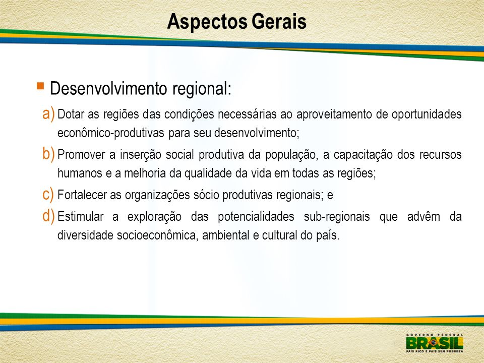 Aspectos Gerais Desenvolvimento regional: