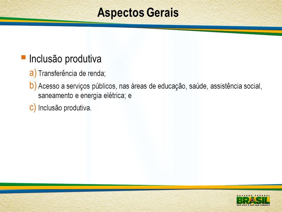Aspectos Gerais Inclusão produtiva Transferência de renda;
