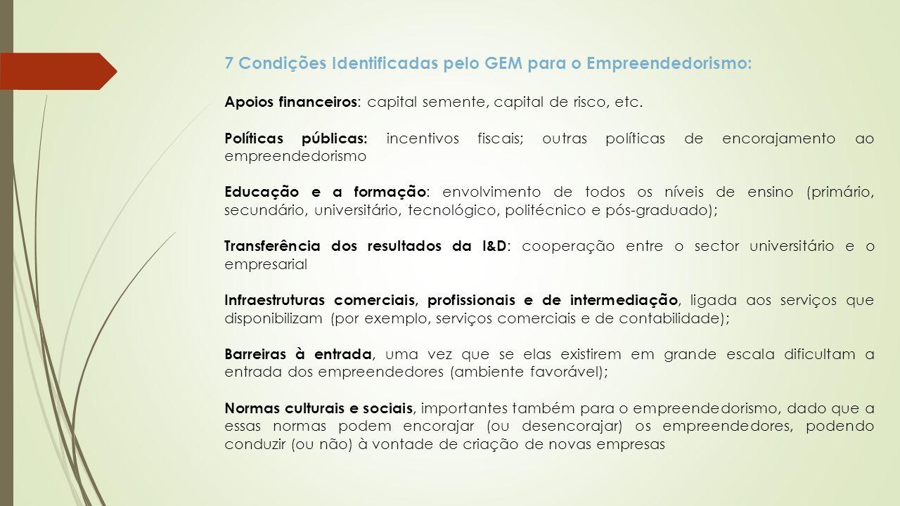 7 Condições Identificadas pelo GEM para o Empreendedorismo: