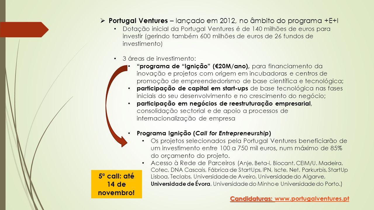 Portugal Ventures – lançado em 2012, no âmbito do programa +E+I