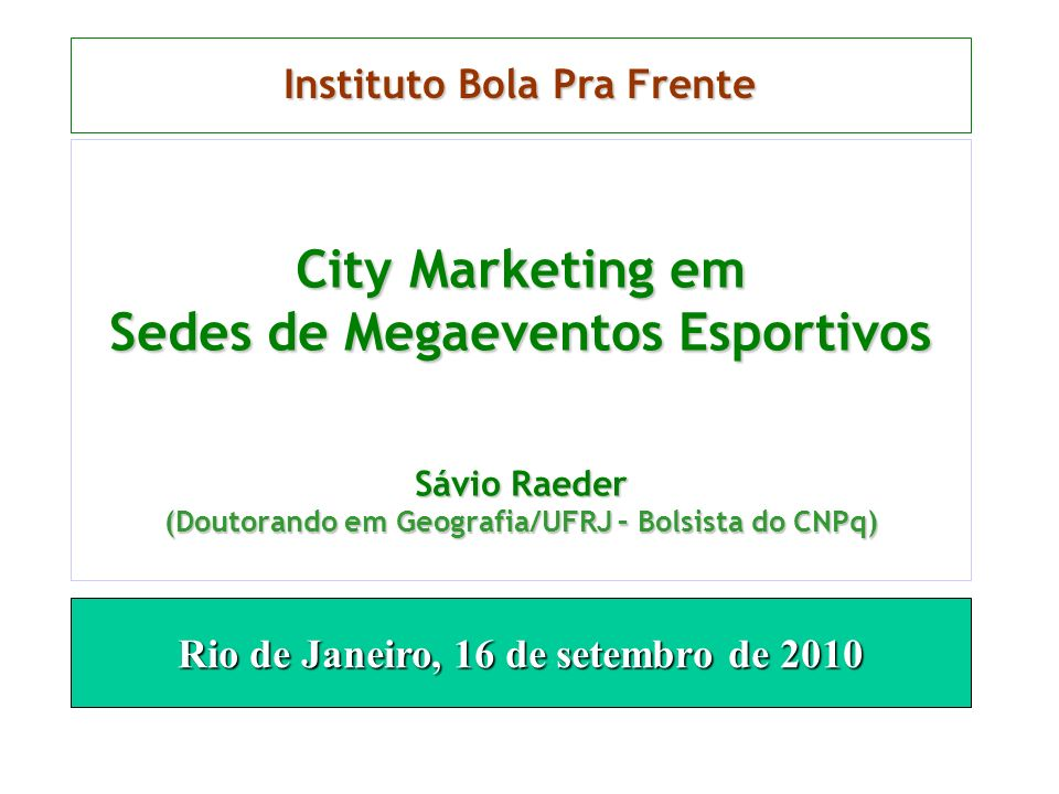 City Marketing em Sedes de Megaeventos Esportivos
