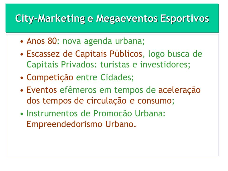 City-Marketing e Megaeventos Esportivos