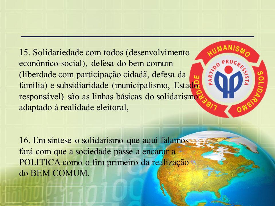 15. Solidariedade com todos (desenvolvimento econômico-social), defesa do bem comum (liberdade com participação cidadã, defesa da família) e subsidiaridade (municipalismo, Estado responsável) são as linhas básicas do solidarismo adaptado à realidade eleitoral,