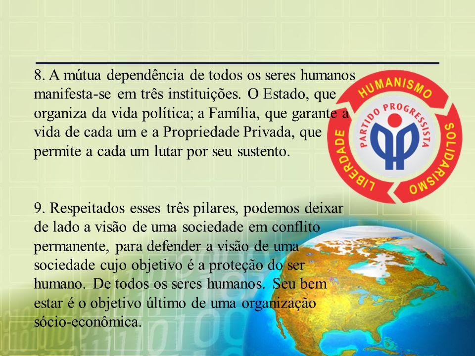 8. A mútua dependência de todos os seres humanos manifesta-se em três instituições. O Estado, que organiza da vida política; a Família, que garante a vida de cada um e a Propriedade Privada, que permite a cada um lutar por seu sustento.