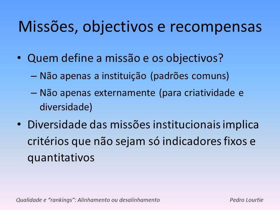 Missões, objectivos e recompensas