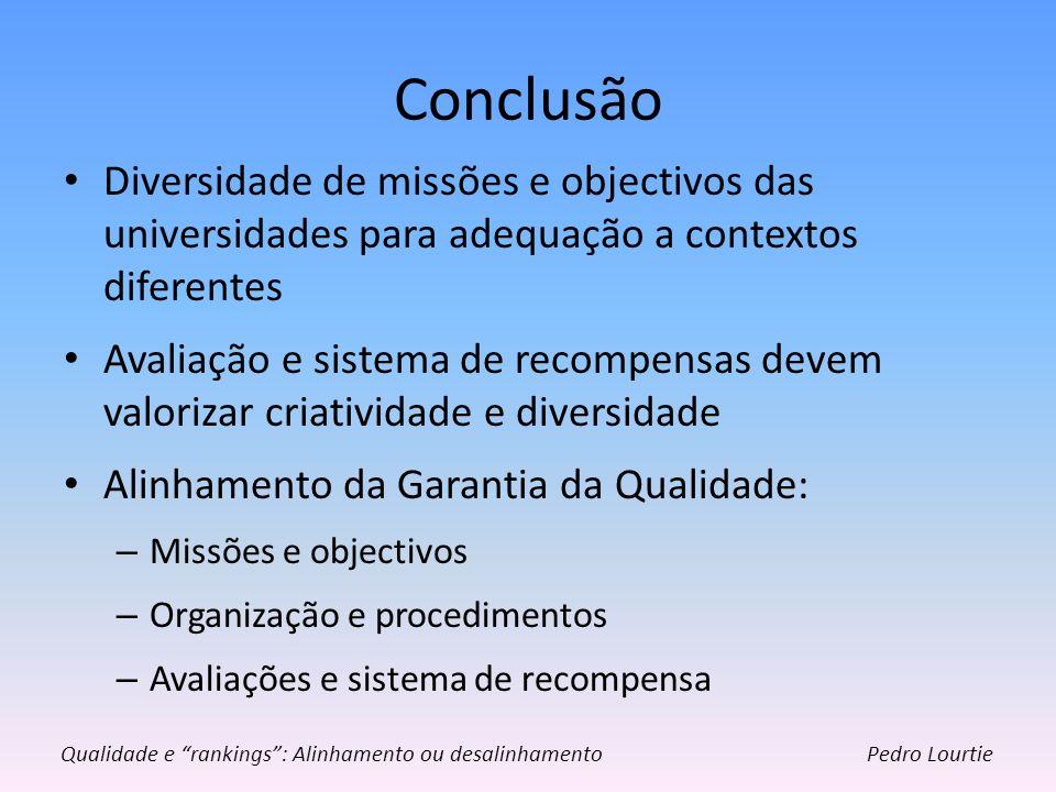 Conclusão Diversidade de missões e objectivos das universidades para adequação a contextos diferentes.