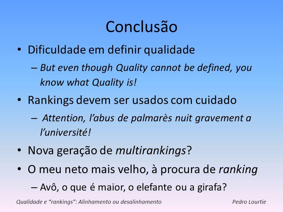 Conclusão Dificuldade em definir qualidade