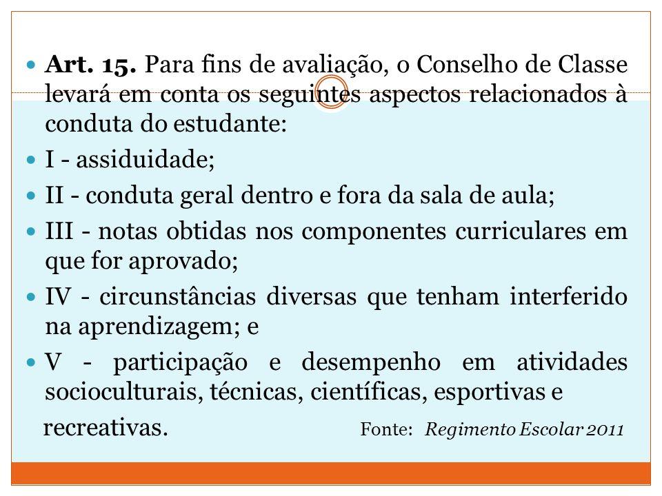 Art. 15. Para fins de avaliação, o Conselho de Classe levará em conta os seguintes aspectos relacionados à conduta do estudante: