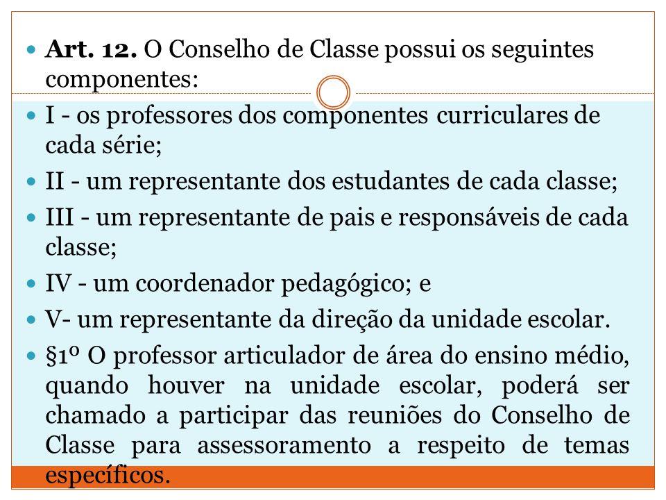 Art. 12. O Conselho de Classe possui os seguintes componentes: