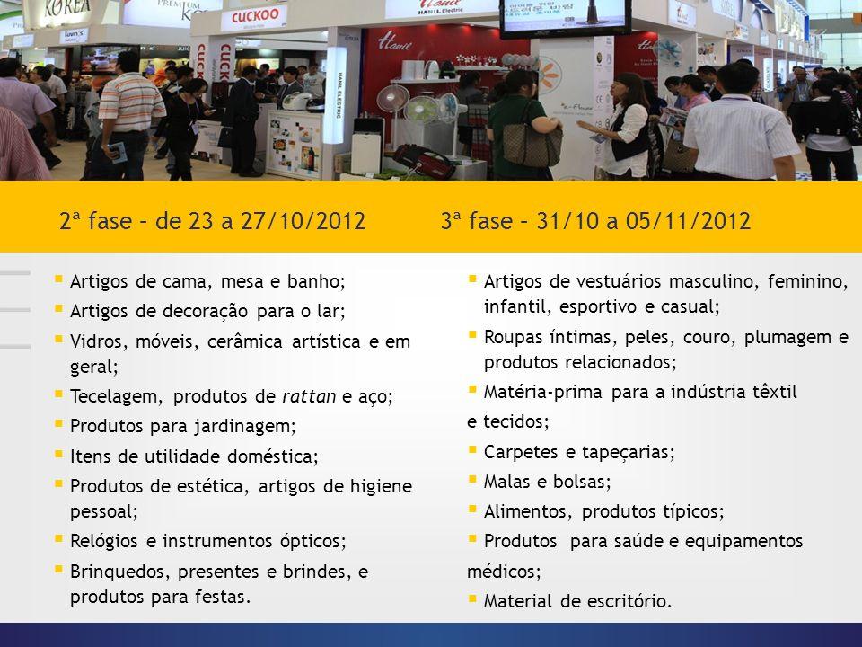 2ª fase – de 23 a 27/10/2012 3ª fase – 31/10 a 05/11/2012