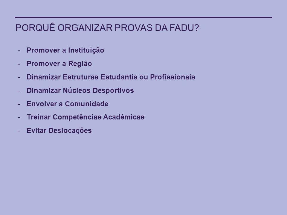 PORQUÊ ORGANIZAR PROVAS DA FADU