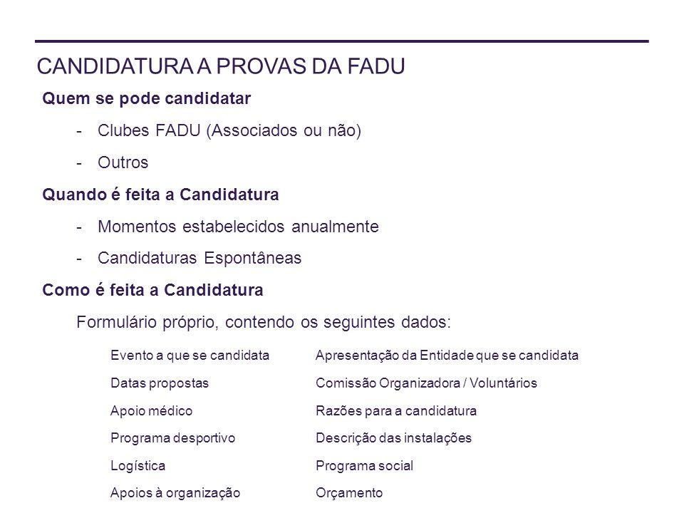 CANDIDATURA A PROVAS DA FADU
