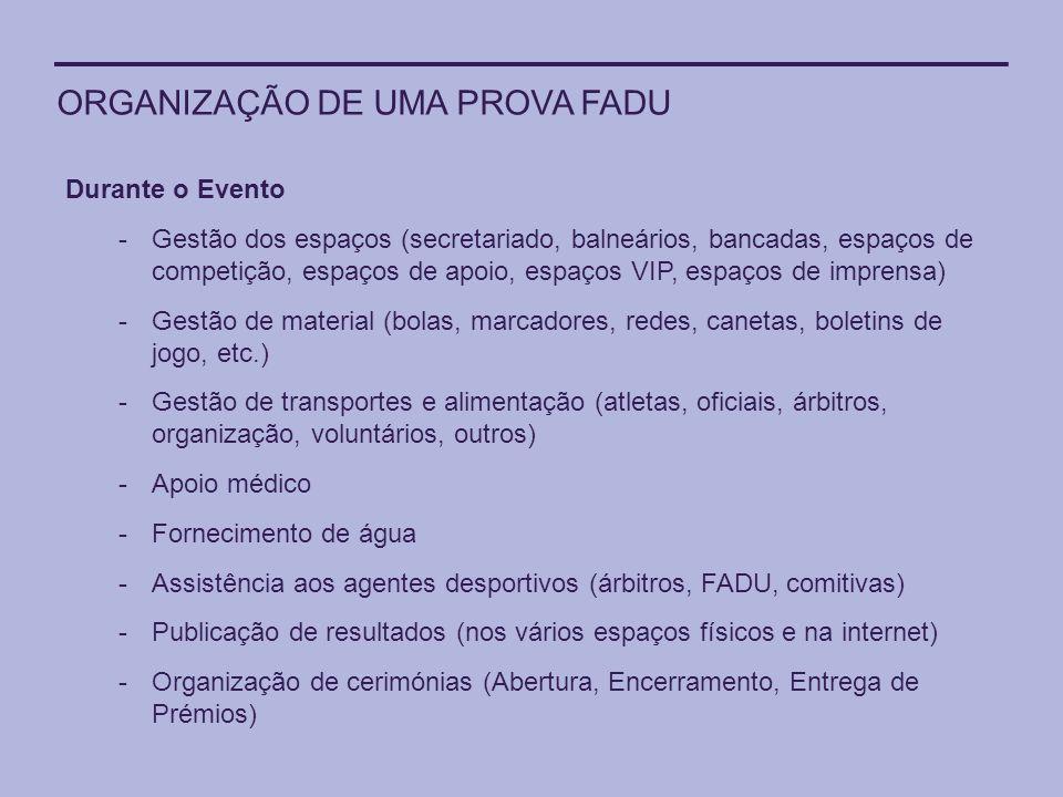 ORGANIZAÇÃO DE UMA PROVA FADU