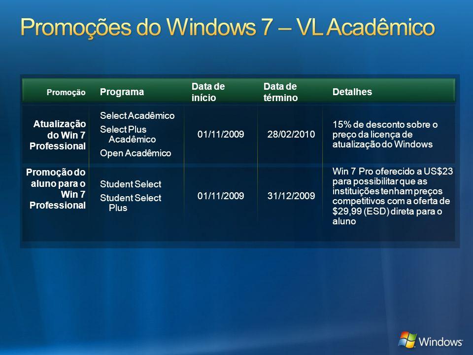 Promoções do Windows 7 – VL Acadêmico