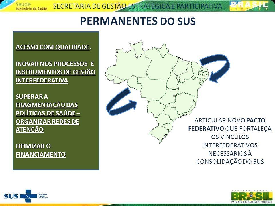 PERMANENTES DO SUS ACESSO COM QUALIDADE. INOVAR NOS PROCESSOS E