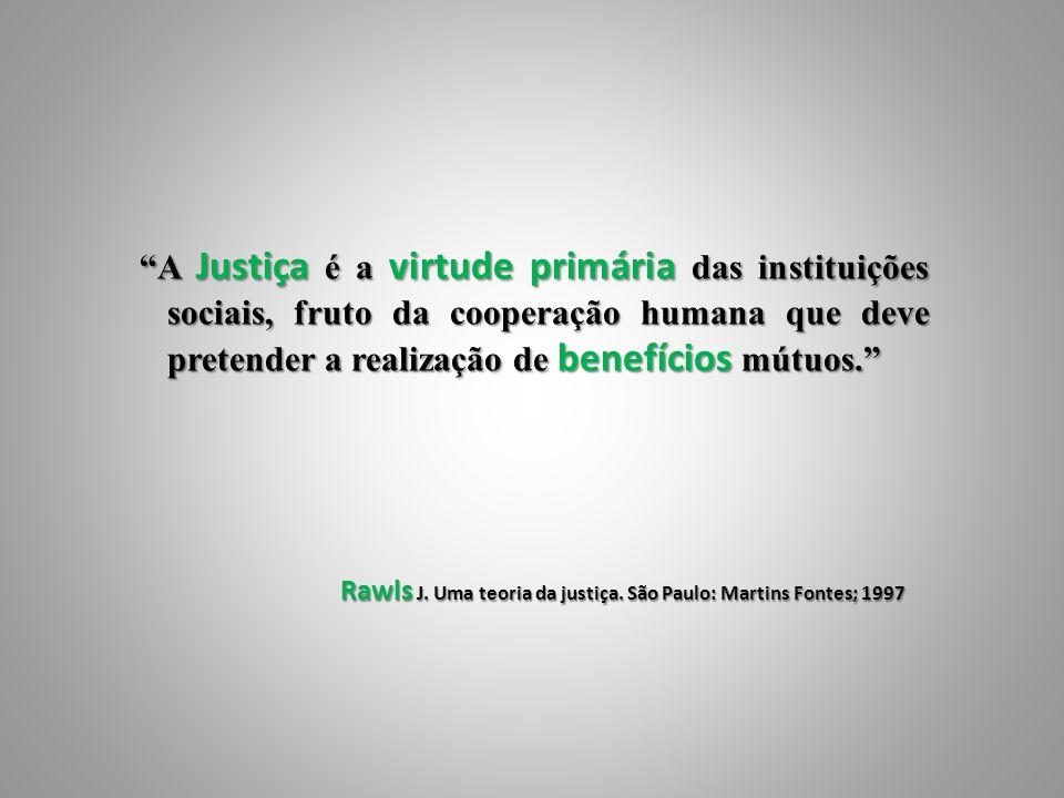A Justiça é a virtude primária das instituições sociais, fruto da cooperação humana que deve pretender a realização de benefícios mútuos.