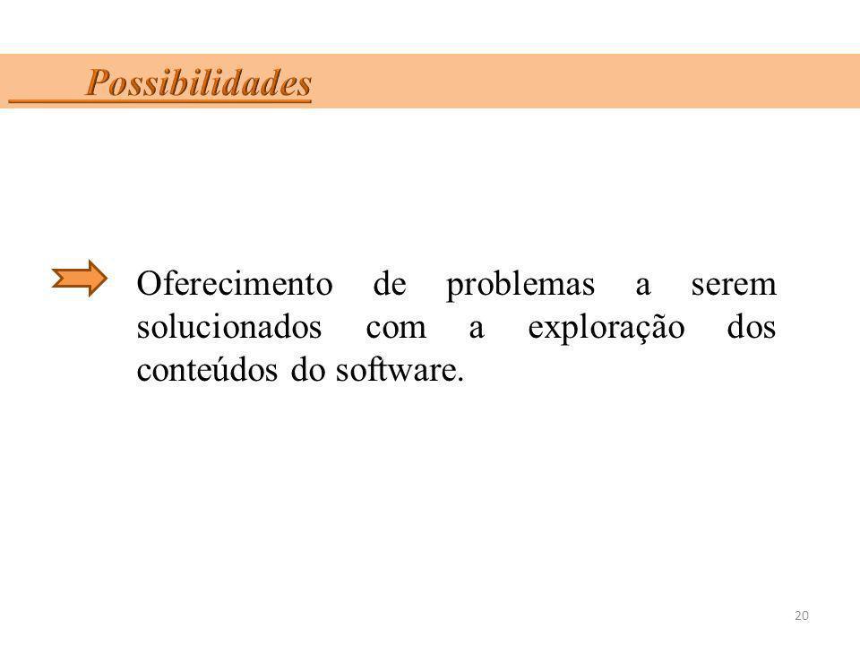 Possibilidades Oferecimento de problemas a serem solucionados com a exploração dos conteúdos do software.