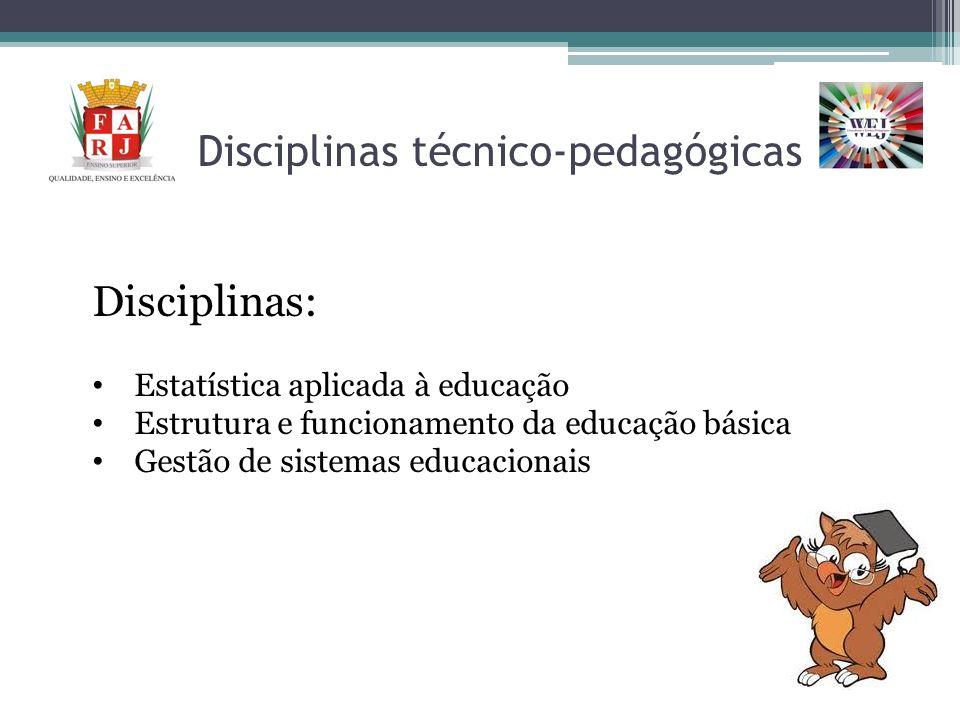 Disciplinas técnico-pedagógicas