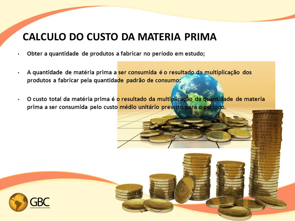 CALCULO DO CUSTO DA MATERIA PRIMA