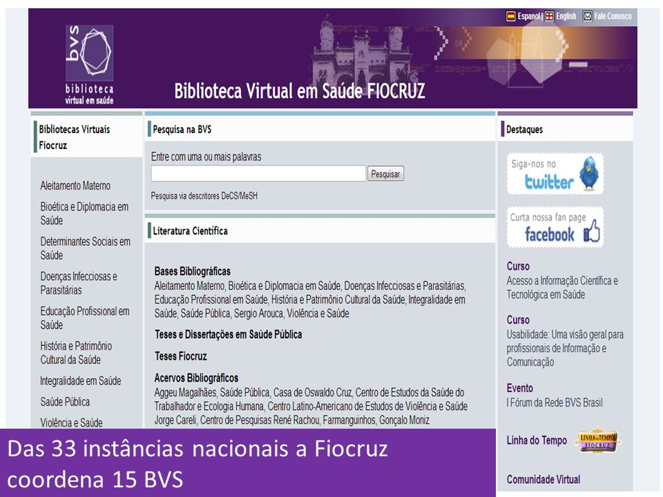 Das 33 instâncias nacionais a Fiocruz coordena 15 BVS