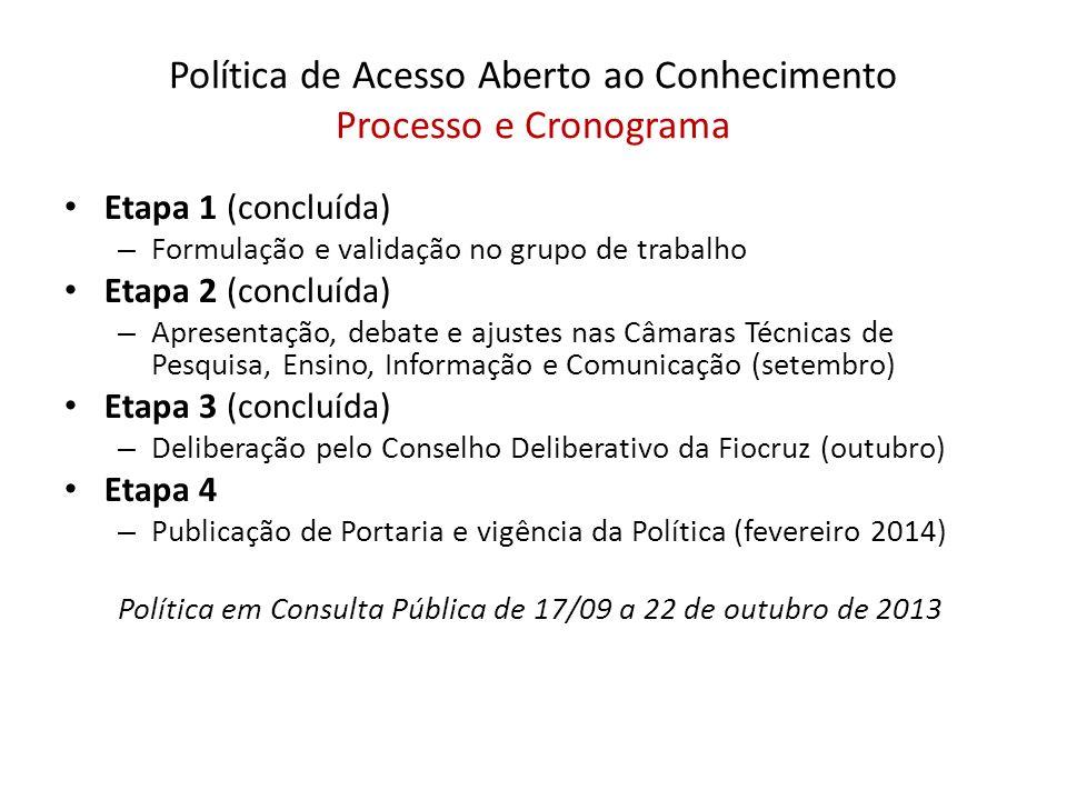 Política de Acesso Aberto ao Conhecimento Processo e Cronograma