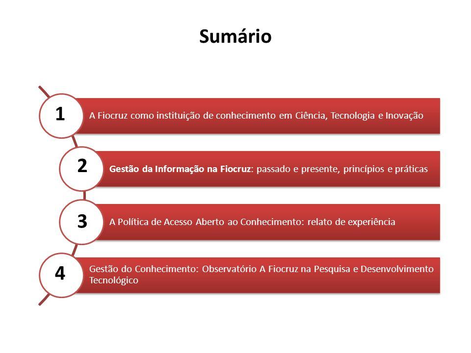 Sumário A Fiocruz como instituição de conhecimento em Ciência, Tecnologia e Inovação.