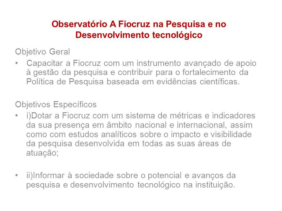 Observatório A Fiocruz na Pesquisa e no Desenvolvimento tecnológico