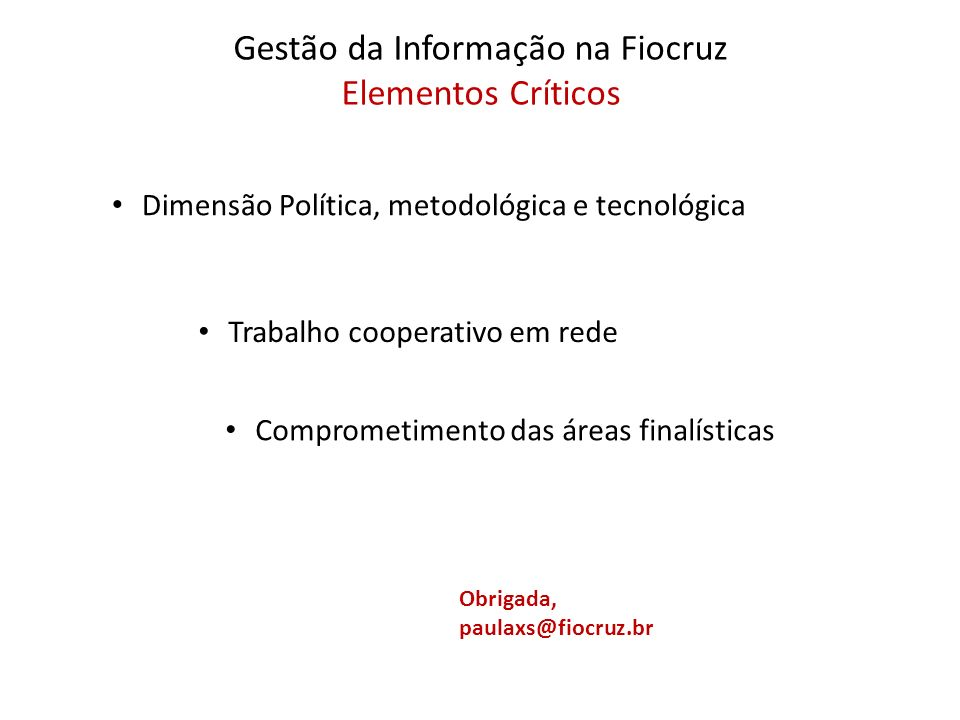 Gestão da Informação na Fiocruz Elementos Críticos