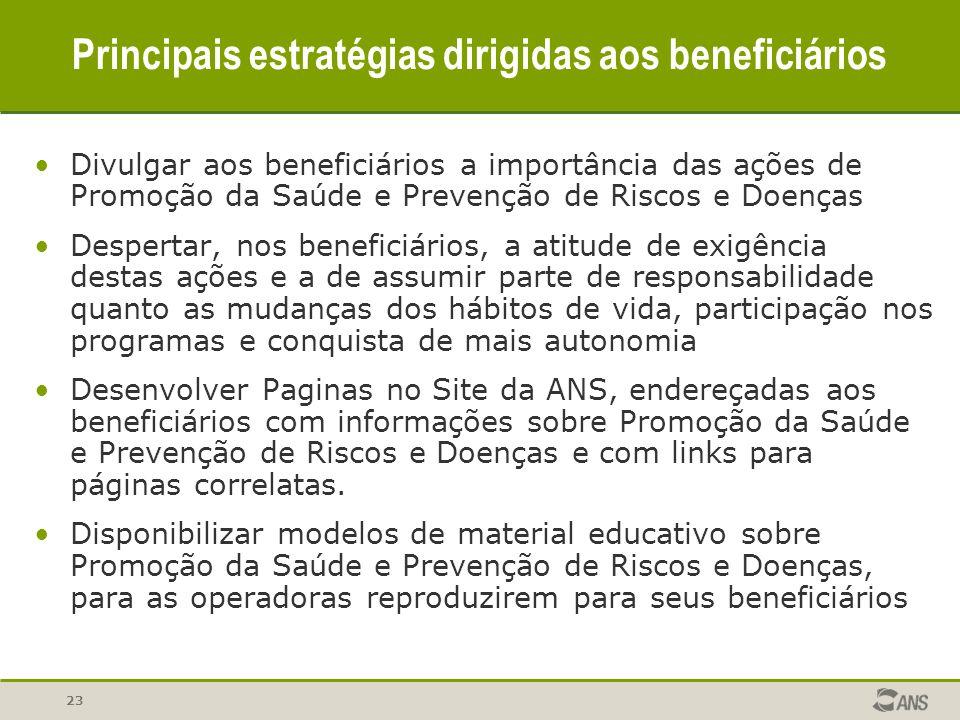 Principais estratégias dirigidas aos beneficiários