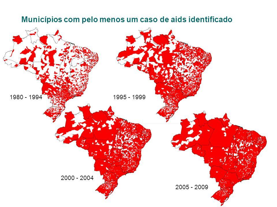 Municípios com pelo menos um caso de aids identificado